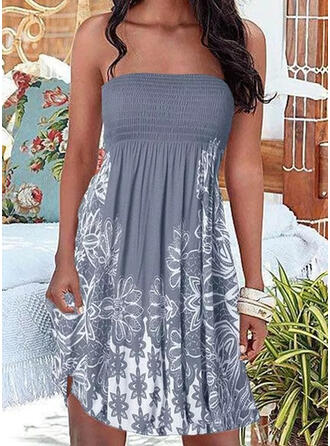 Print/Floral Sleeveless A-line Above Knee Vacation Skater Dresses