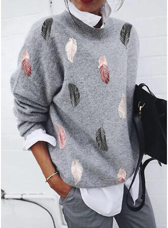 Print Feather Round Neck Casual Sweaters