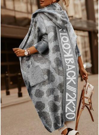 Pocket Leopard Hooded Casual Long Cardigan