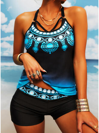 Floral Strap U-Neck Sexy Plus Size Tankinis Swimsuits