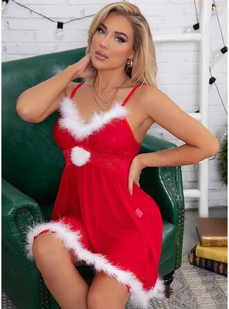 Polyester Solid Sexy V Neck Christmas Cami Set