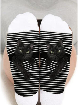 Animal/Print Breathable/Crew Socks/Black Cat/Unisex Socks