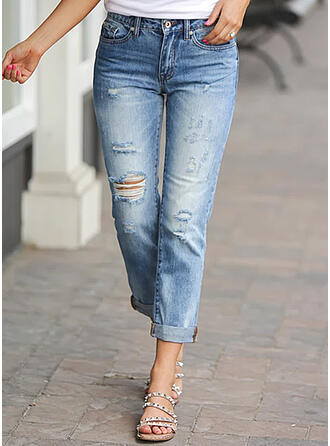 Solid Denim Cropped Casual Plus Size Pocket Ripped Denim & Jeans
