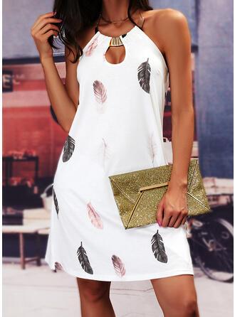 Print/Backless Sleeveless Shift Knee Length Casual Dresses