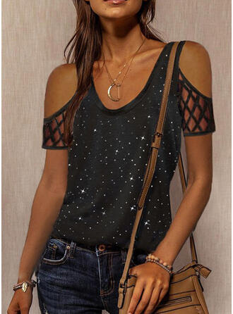 Print Hollow-out Cold Shoulder Short Sleeves Casual Blouses