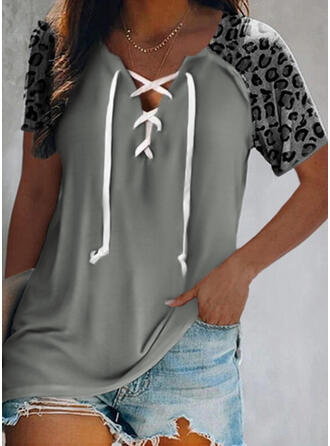Leopard Lace-up V-Neck Short Sleeves Casual Blouses