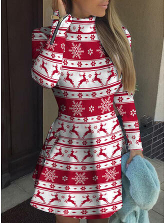 Animal Print Long Sleeves A-line Above Knee Christmas/Casual Skater Dresses