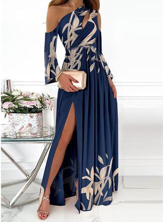 Print Long Sleeves Cold Shoulder Sleeve A-line Skater Party/Elegant Maxi Dresses