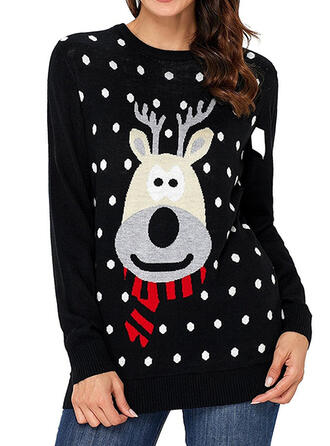 Kvinnor polyester Ren Polkadot Ugly Christmas Sweater