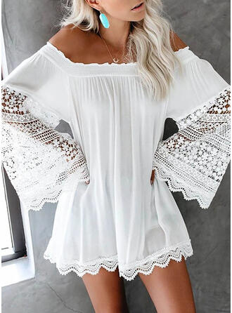 Lace/Solid Long Sleeves/Flare Sleeves Shift Above Knee Casual Tunic Dresses
