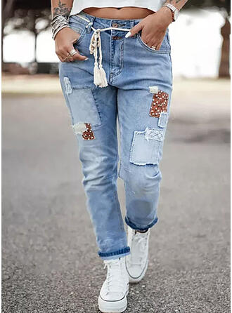 PolkaDot Denim Long Casual Vacation Stitching Pocket Shirred Drawstring Denim & Jeans