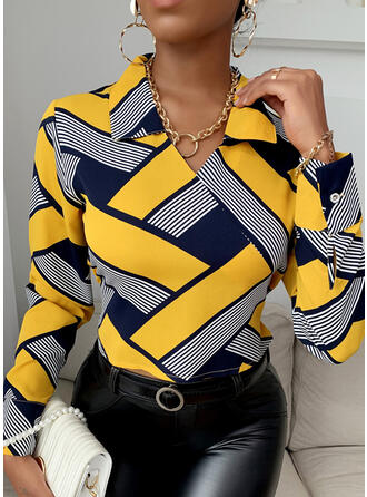 Print Lapel Long Sleeves Elegant Blouses