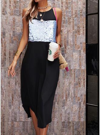 Print Sequins Sleeveless Shift Slip Casual Midi Dresses