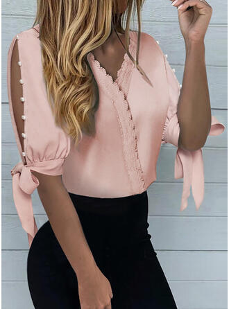 Solid Lace Beaded Cold Shoulder 1/2 Sleeves Button Up Elegant Blouses