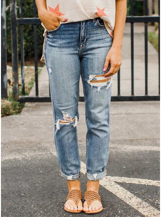 Shirred Ripped Tribal Vintage Denim & Jeans