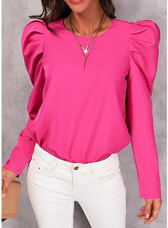 Solid Round Neck Long Sleeves Puff Sleeve Casual Blouses