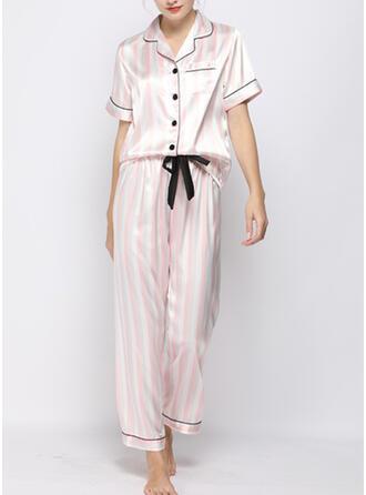V-Neck Short Sleeves Stripe Casual Top & Pants Sets