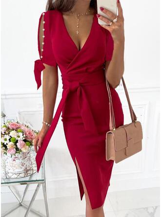 Solid Short Sleeves Cold Shoulder Sleeve Sheath Knee Length Elegant Wrap Dresses