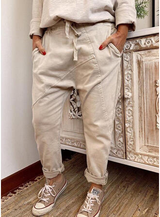 Solid Shirred Drawstring Long Casual Tribal Plain Pants