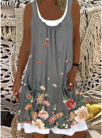 Print/Floral Sleeveless Shift Knee Length Casual Tank Dresses