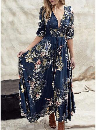Print/Floral 1/2 Sleeves A-line Skater Elegant Maxi Dresses