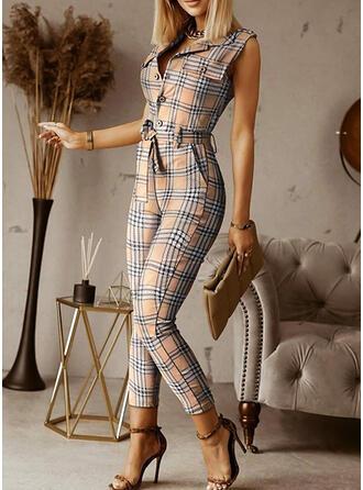 Plaid Lapel Sleeveless Elegant Office/Business Jumpsuit