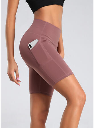 Patchwork Pockets Plus Size Above Knee Sexy Yoga Shorts Leggings