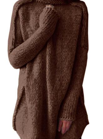 Solid Polotröja Casual Lång Lösa Tröja klänning