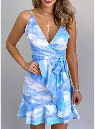 Tie Dye Sleeveless A-line Above Knee Casual Wrap/Slip/Skater Dresses