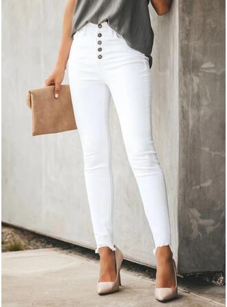 Solid Denim Long Casual Pocket Button Pants Denim & Jeans