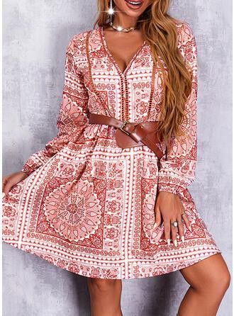 Print/Floral Long Sleeves A-line Above Knee Casual/Boho Skater Dresses