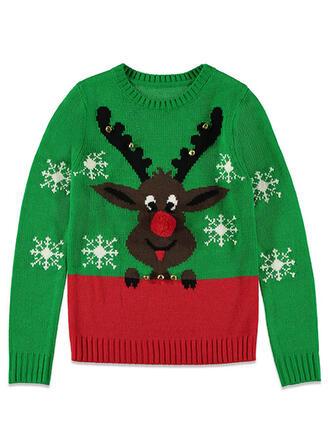 Könsneutrala polyester Color Block Ren Ugly Christmas Sweater