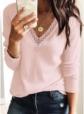 Solid Lace Knit V-Neck Long Sleeves Casual Blouses