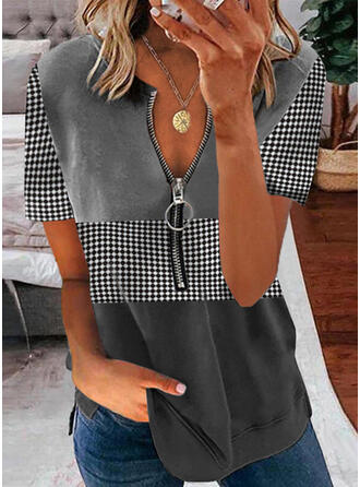 Color Block PolkaDot V-Neck Short Sleeves Casual Blouses