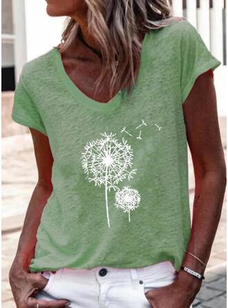 Dandelion Print V-Neck Short Sleeves T-shirts