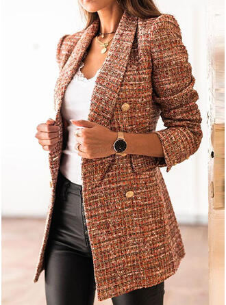 Knit Long Sleeves Solid Blazers