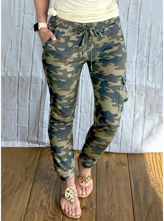 Camouflage Long Casual Plus Size Pocket Drawstring Pants
