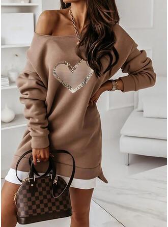 Print/Heart Long Sleeves Dropped Shoulder Shift Above Knee Casual Sweatshirt Dresses