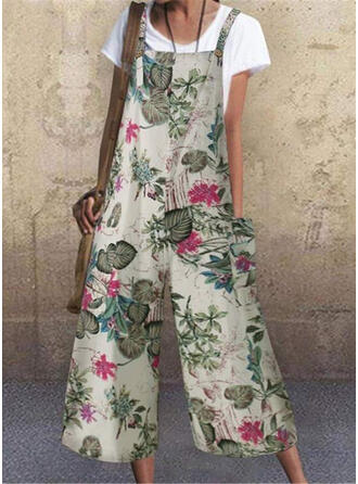 Print Strap Sleeveless Casual Boho Vacation Jumpsuit