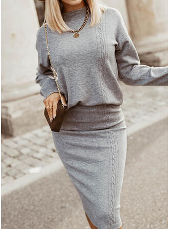 Solid Knit Long Sleeves Dropped Shoulder Bodycon Knee Length Elegant Sweater/Pencil Dresses