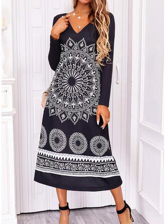 Print Long Sleeves Shift Boho Midi Dresses