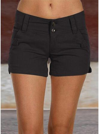 fickor Shirred Extra stor storlek Ovanför knäet Fritids Sexig Solid Shorts