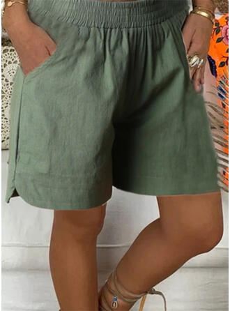 fickor Shirred Extra stor storlek Ovanför knäet Fritids Solid Sportig Shorts