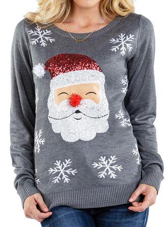 Kvinnor polyester Print Jultomten Ugly Christmas Sweater