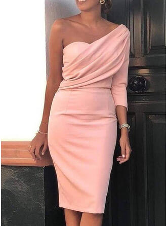 Solid Long Sleeves Bodycon Knee Length Party Pencil Dresses