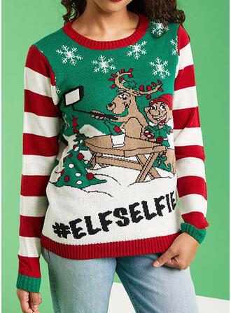 Kvinnor polyester Ren Brev Tecknad Ugly Christmas Sweater