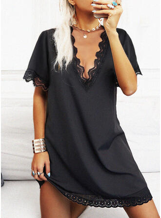 Solid Lace Short Sleeves Shift Knee Length Little Black/Casual Tunic Dresses