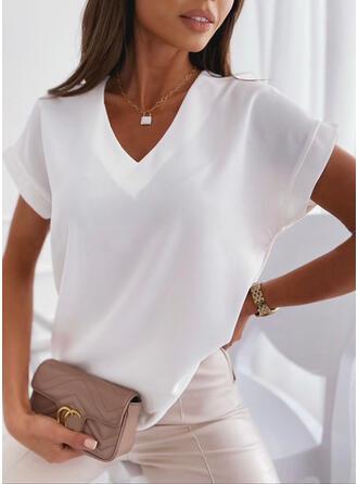 Solid V-Neck Short Sleeves T-shirts