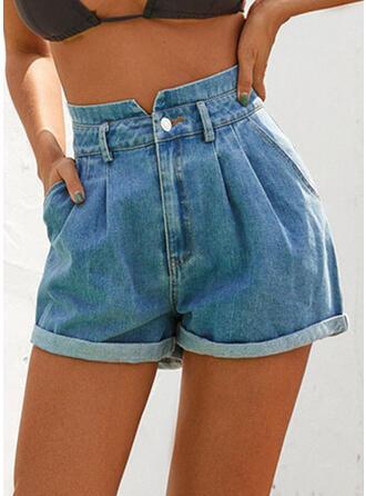 fickor Shirred Ovanför knäet Fritids Sexig Jeans Shorts