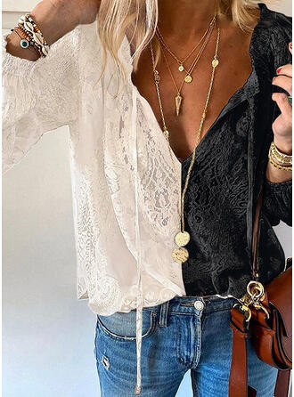 Color Block Lace V-Neck Long Sleeves Elegant Blouses